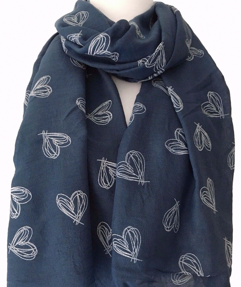 Heart Scarf Navy Blue White Love Hearts Ladies Sarong Wrap Shawl Large New