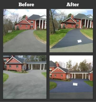 Before And After Pictures Of A Large Driveway Seal Coated By Proseal Sealcoating Www Prosealcoat Com Large Driveway Driveway Sealing Outdoor Structures