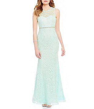 Sequin Hearts High Neck Illusion-Yoke Embellished Waist Long Lace Dress