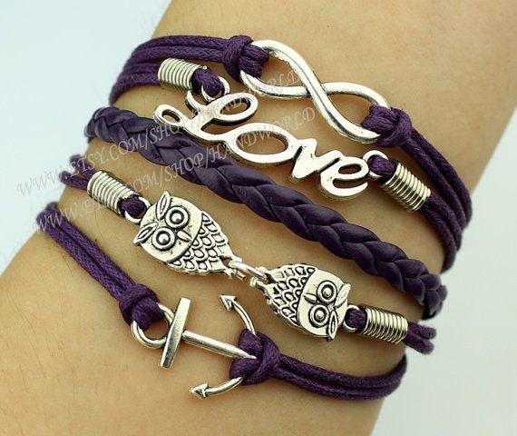 Lovely owl bracelet anchor bracelet love bracelet by handworld, $5.99