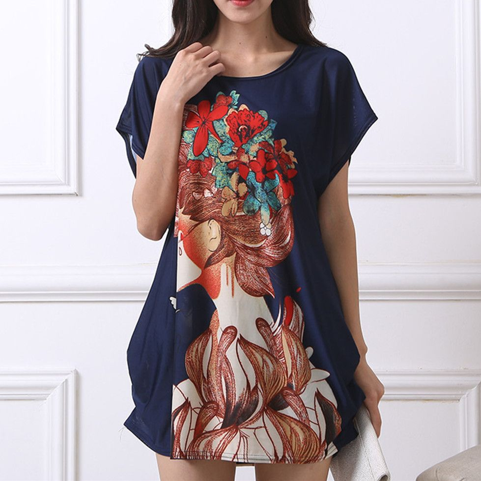 Low price guaranteenew t shirt dress plus size women printing