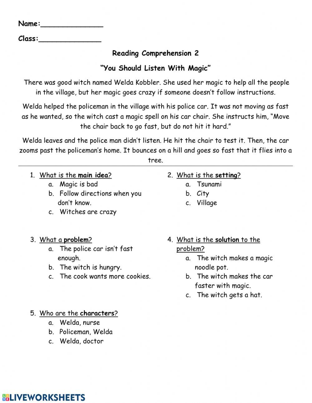 Reading comprehension - Follow directions - Interactive worksheet   Story  elements worksheet [ 1291 x 1000 Pixel ]