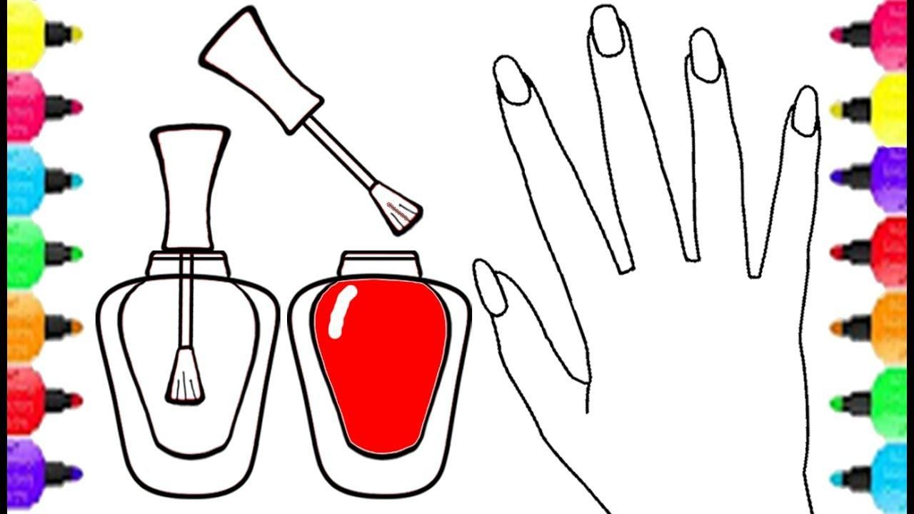 Nail Polish And Hand Coloring Page Hand Coloring Coloring Pages Nail Polish