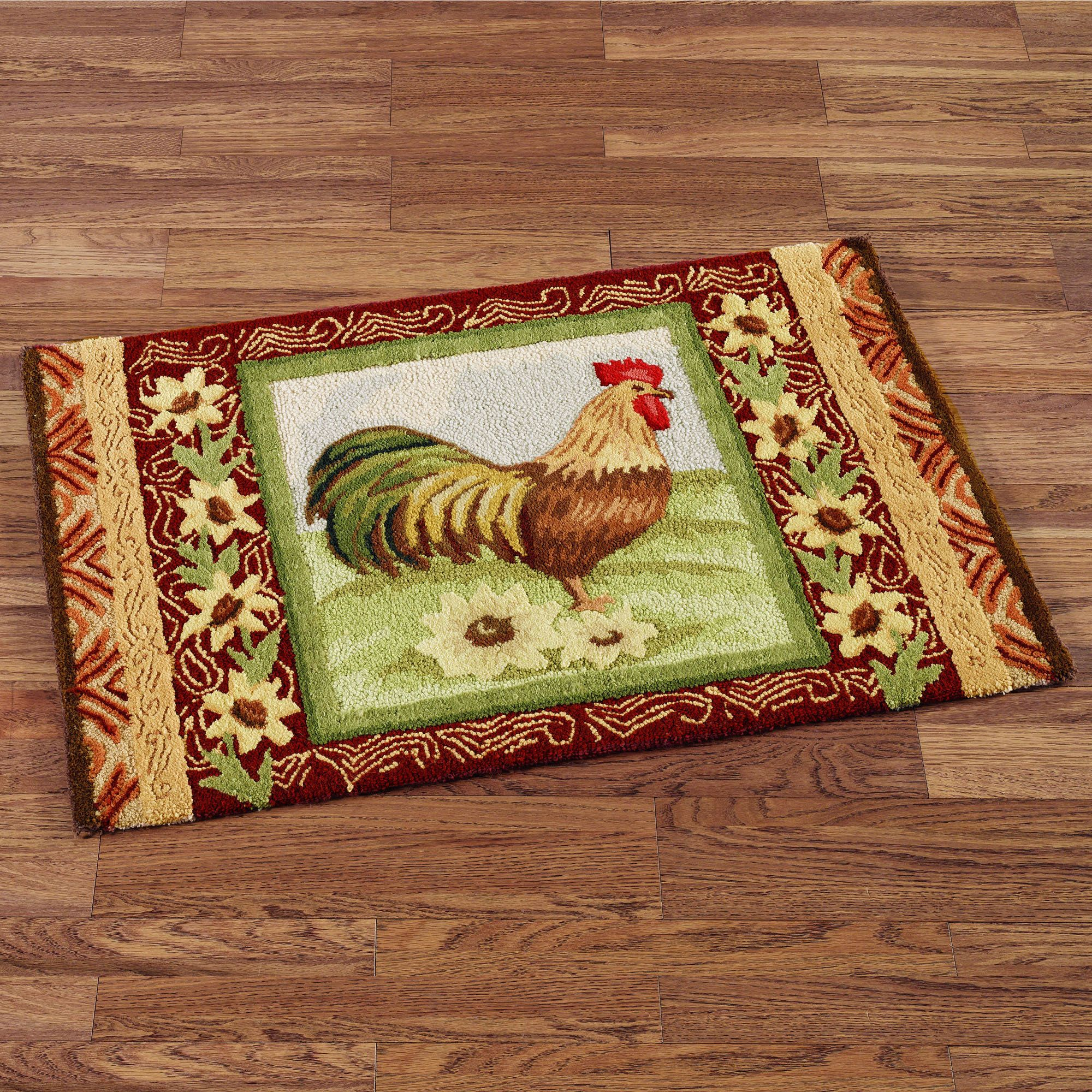 Statuette Of Rooster Kitchen Rugs Creating A Country Nuance Decor