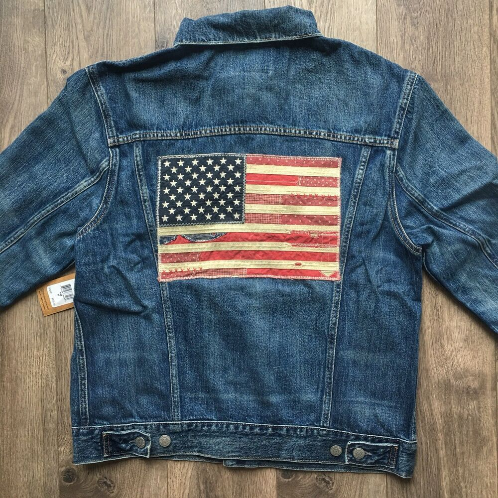 ce04d81d7 NWT Polo Ralph Lauren USA Flag Denim Trucker Jacket - Size Medium ...