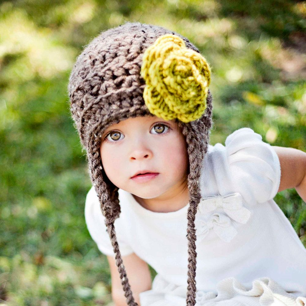 Toddler Girl Winter Hat Little Girl Hat Aviator Hat With Large Flower Brooch 12 To 36 Months 44 00 Via Etsy Girls Winter Hats Kids Hats Girls Crochet Hats