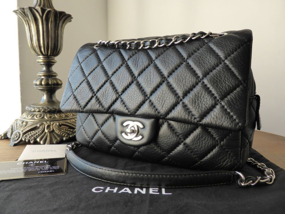 182587e64c00 Chanel Medium Easy Flap Bag in Black Aged Calfskin with Silver Hardware   gt  https