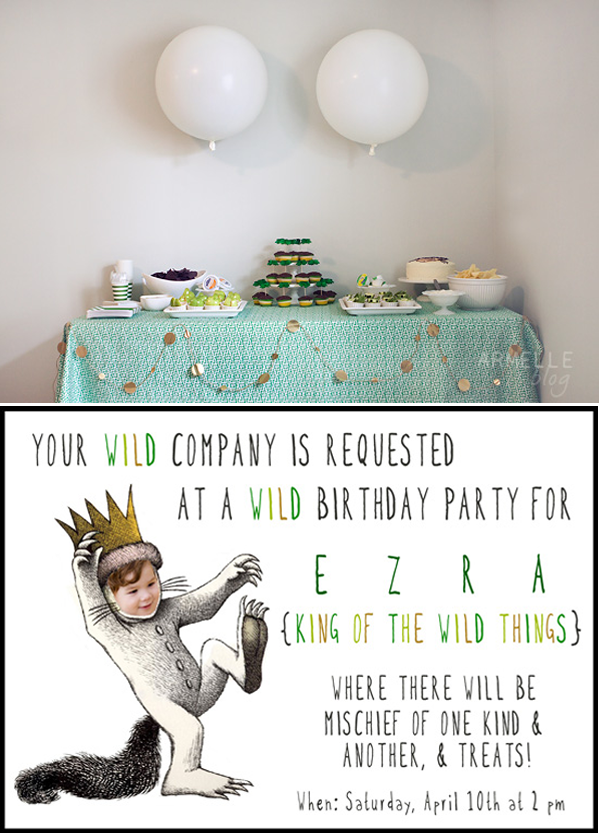 invitation words forst birthday party%0A Wild Things  first birthday invite