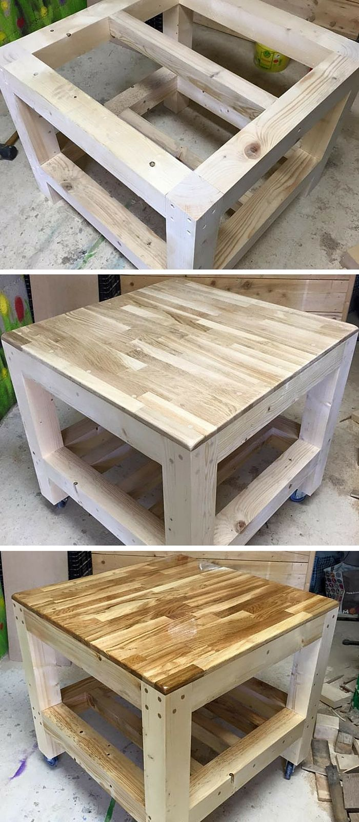 We have today this diy pallet square shape coffee table this table