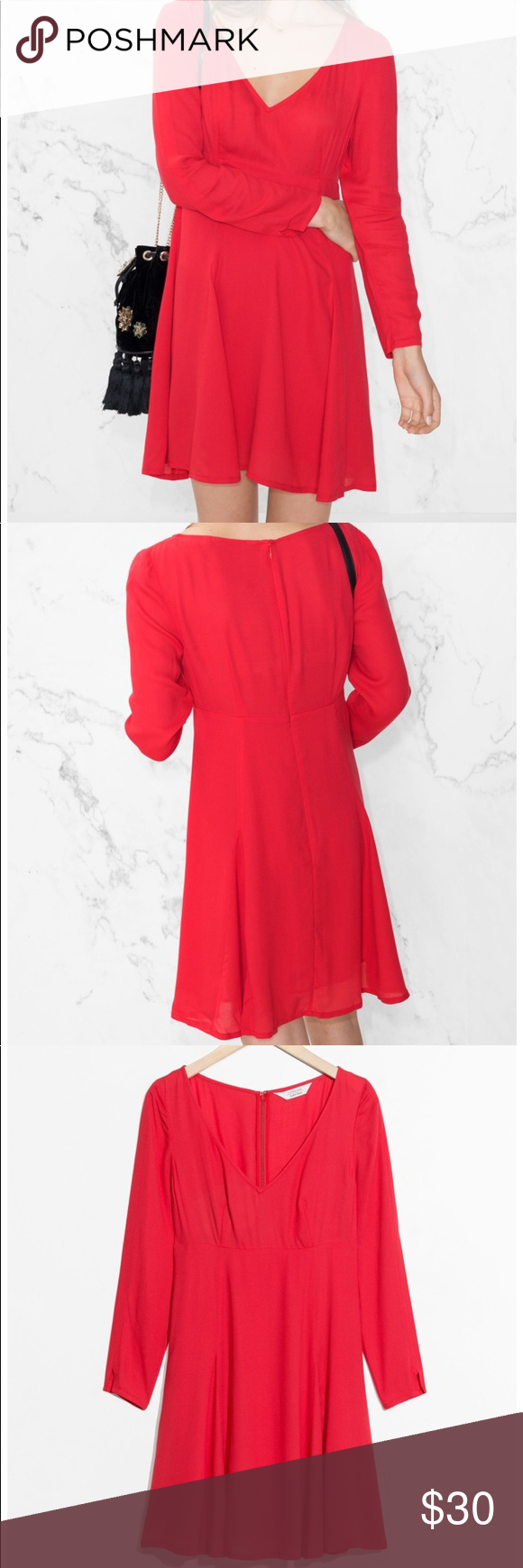 U other stories cherryred dress long sleeves nwt my posh picks