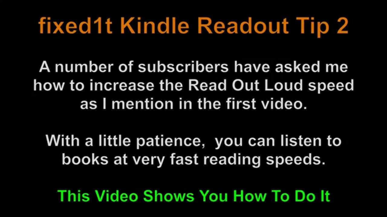 Changing Kindle App Read Out Loud Reading Speed On The
