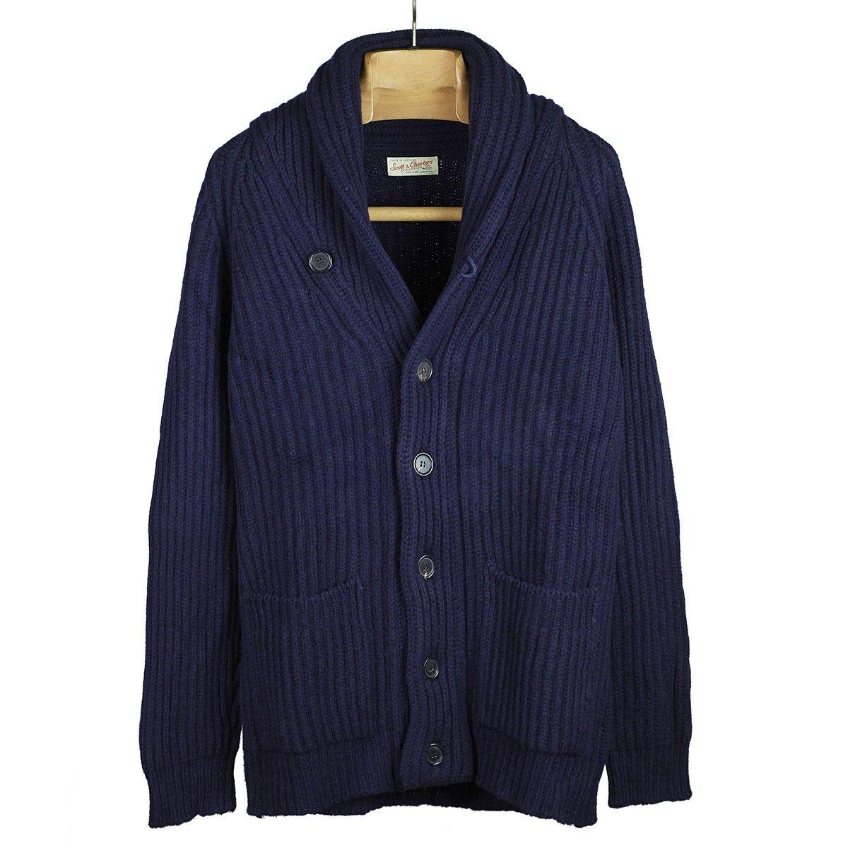 Navy blue shawl collar lambswool cardigan jacket | No Man Walks ...