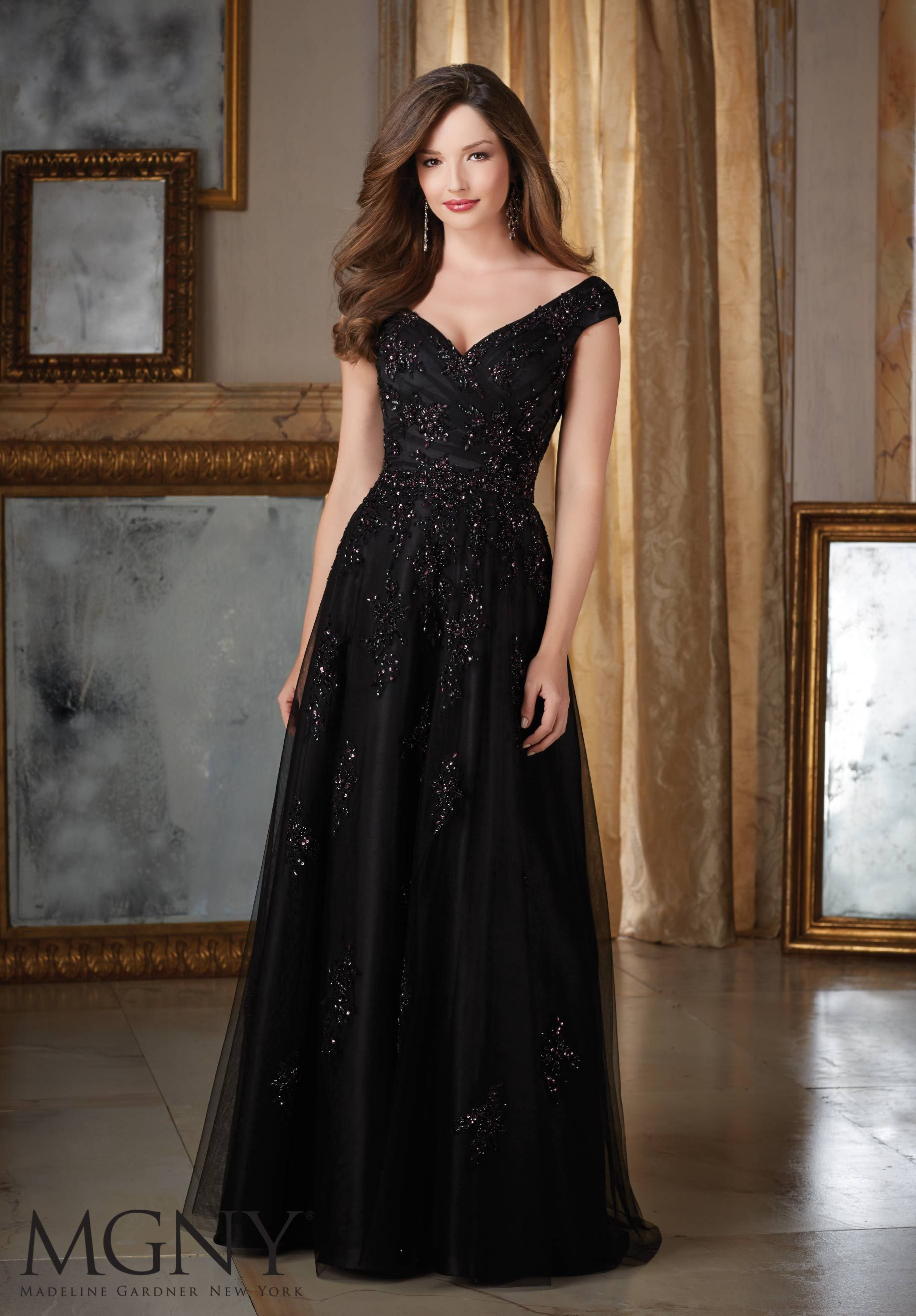 Mothers dresses for a wedding  Contrasting Beaded Appliques on Net Mother of the Bride Dress