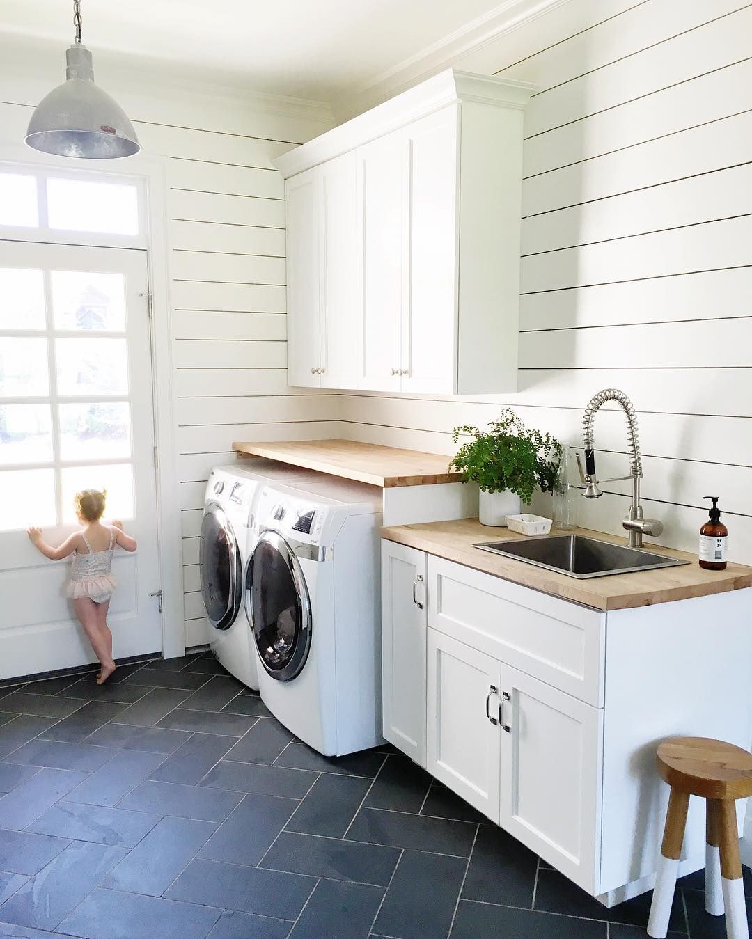 Laundry room dark tile u0026 white shiplap