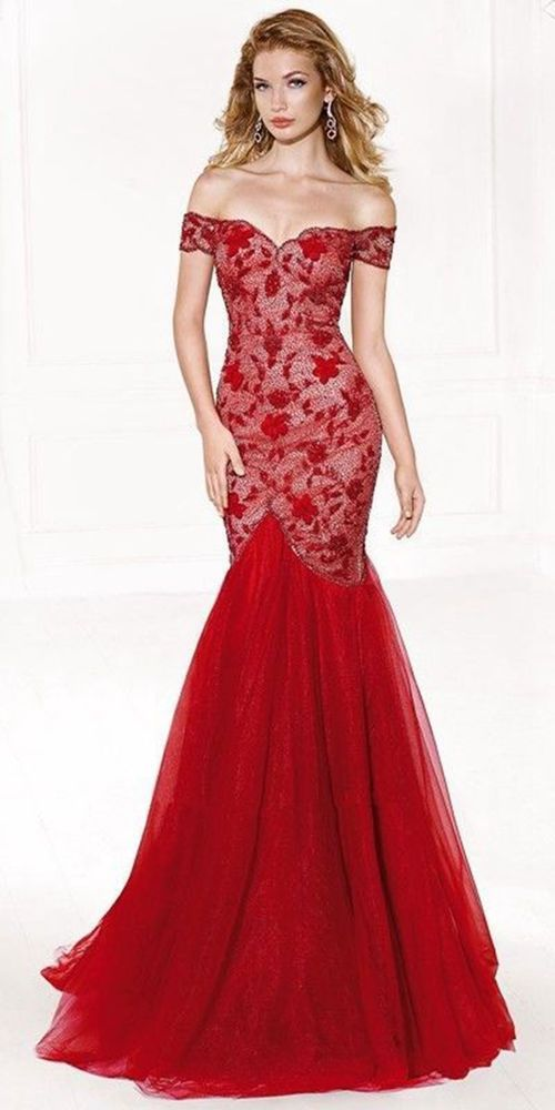 0e7ebdae3724 Long Off-Shoulder Red V Shaped Mermaid Evening Formal Party Dress Ball Gowns  #Brandnew #BallGown #Formal