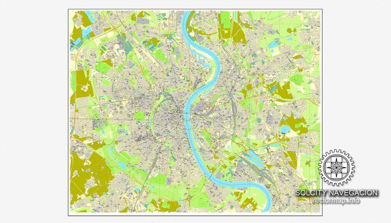 Cologne Kln Germany printable vector street City Plan map full