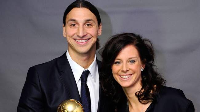 Lyckliga pristagare, Zlatan Ibrahimovic och Lotta Schelin. Foto: SCANPIX