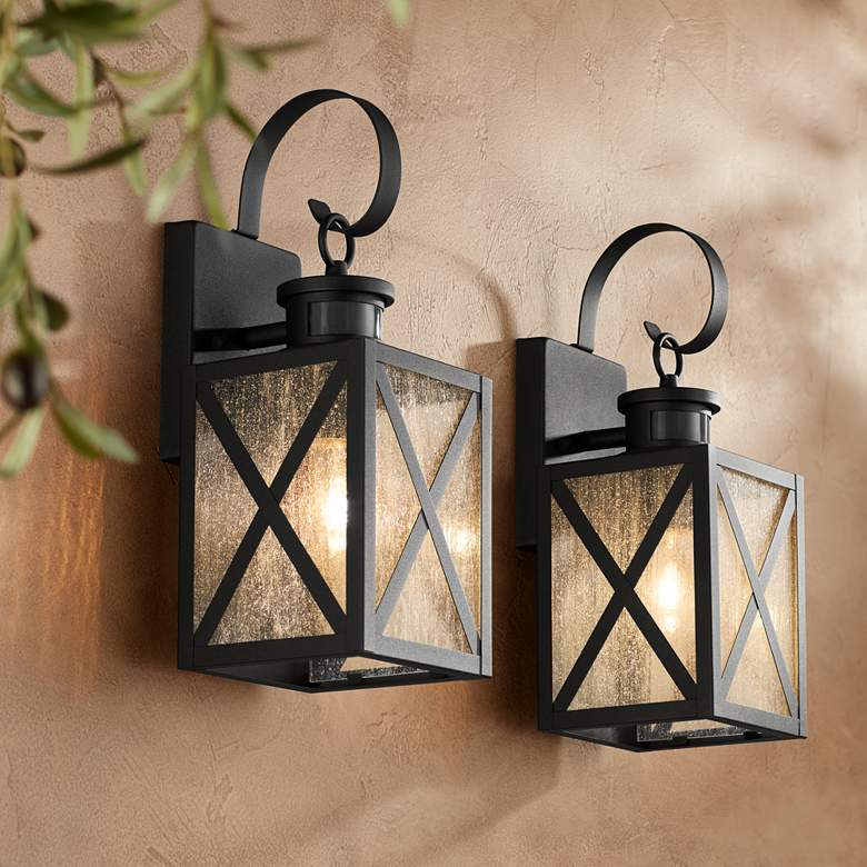 Welling 14 1 2 H Black Motion Sensor Outdoor Lights Set Of 2 63m74 Lamps Plus In 2021 Outdoor Wall Light Fixtures Wall Lights Outdoor Wall Lighting