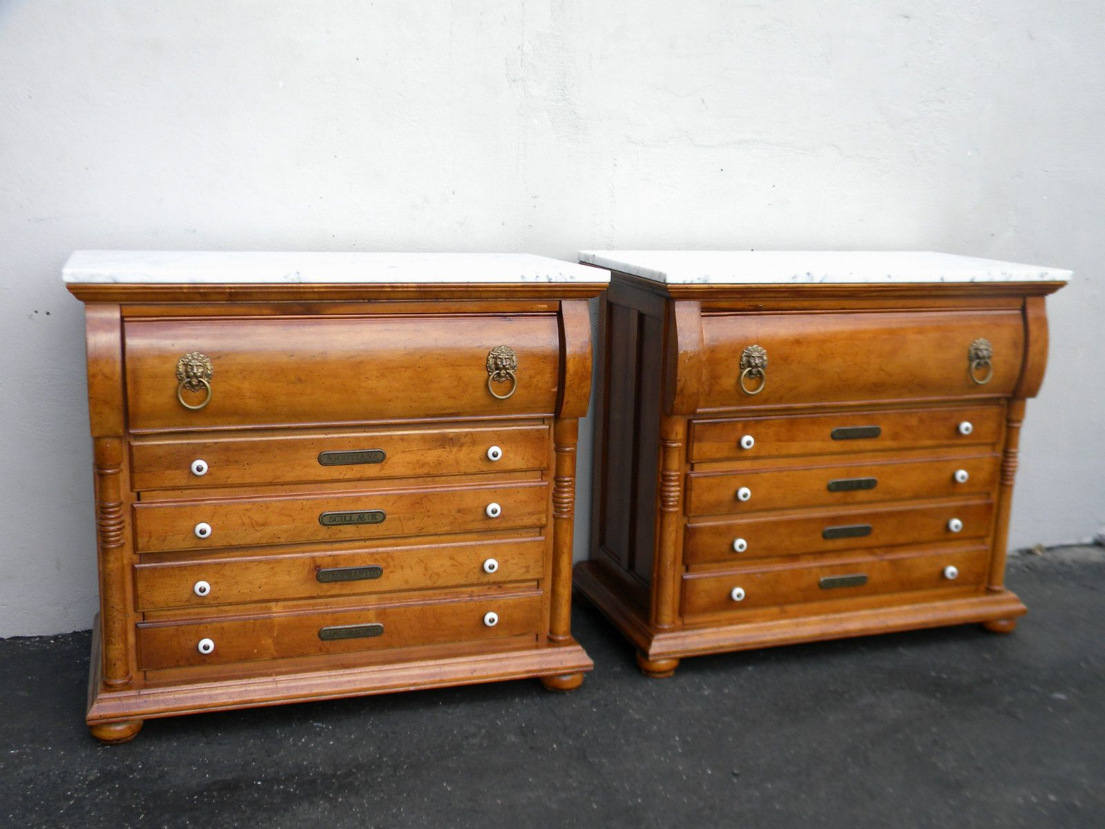 Pair Of Victorian Style Apothecary Marble Top Large