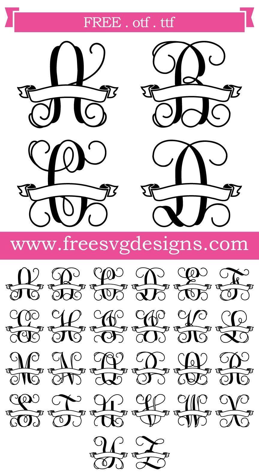 Free SVG files Script Vine Monogram Banner Font at www
