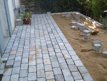 Terrasse en pav s bordure terrasse pinterest for Pave decoration exterieur