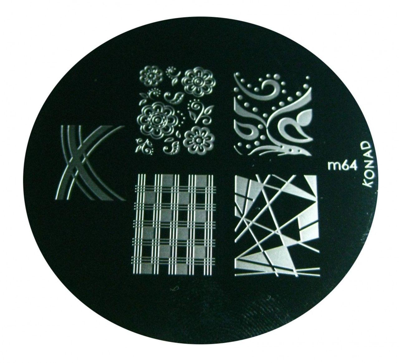 Image Plate #M64 by Konad Stamping Nail Art | Nail Polish Canada - Free Shipping