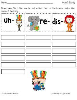 circus fun prefix word sort un re dis prefixes homework sheet and recording sheets. Black Bedroom Furniture Sets. Home Design Ideas