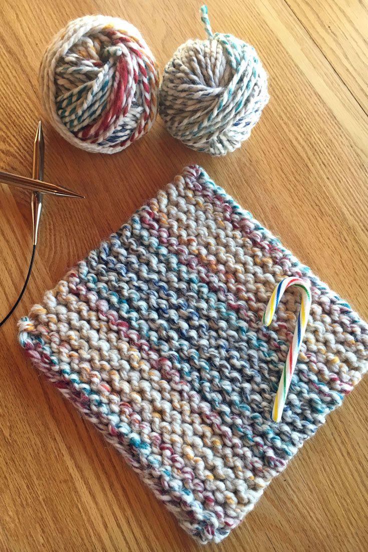 Cherry Candy Cane Potholder Easy Knitting Pattern from Liz