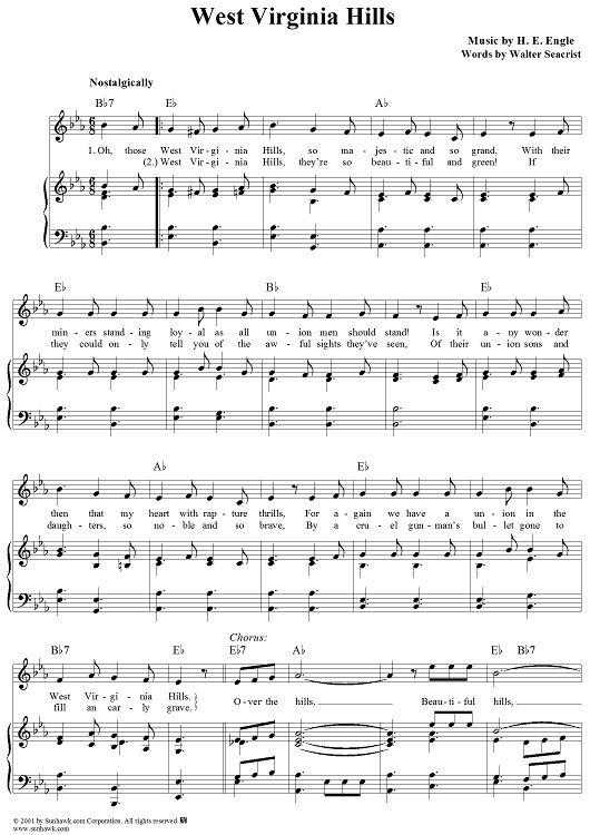 West Virginia Hills Sheet Music West Virginia History Virginia