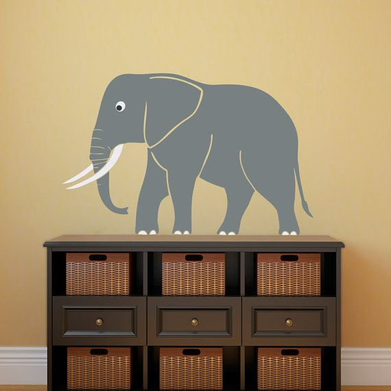 Cute Elephant Wall Decal - Safari Wall Decor - Children Wall Decals ...