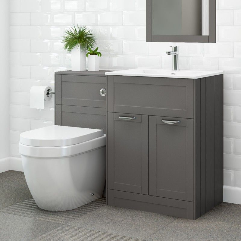 Bathroom Sinks Nottingham nottingham 600 grey combination unit with aurora back to wall