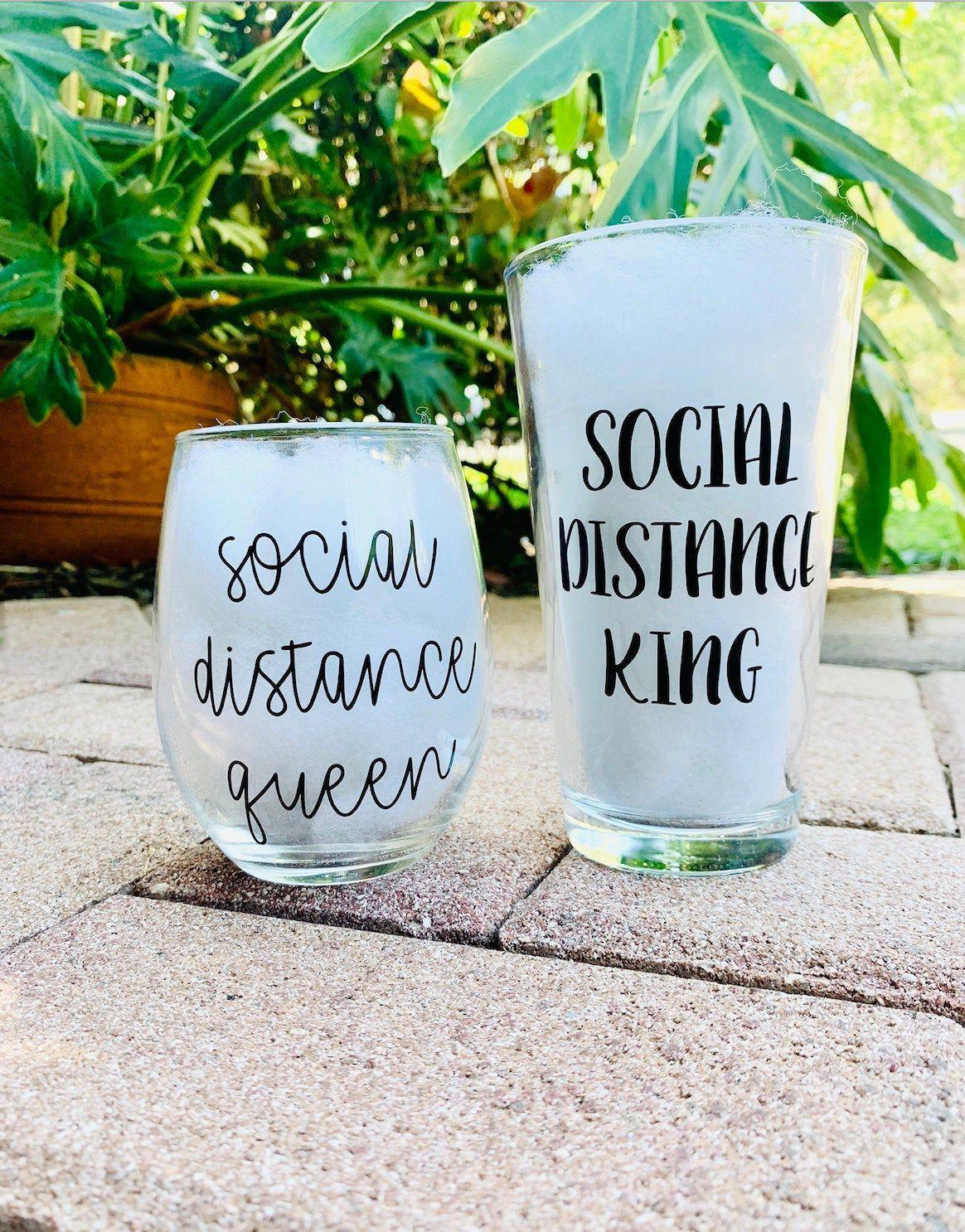 Social distance couple, social distance queen, social distance king, social distancing, quarantine wine glass,social distance set,wine glass
