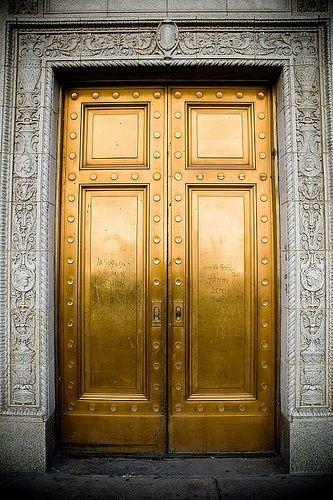 Decorating With Metallic Gold Especially At Christmas Gold Door Unique Doors Beautiful Doors