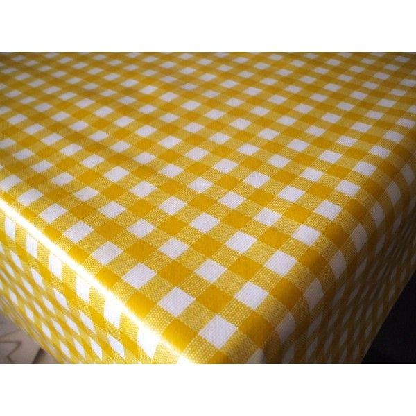 Yellow Checkered Tablecloth | Bistro Yellow And White Gingham Check Vinyl  Oilcloth Tablecloth