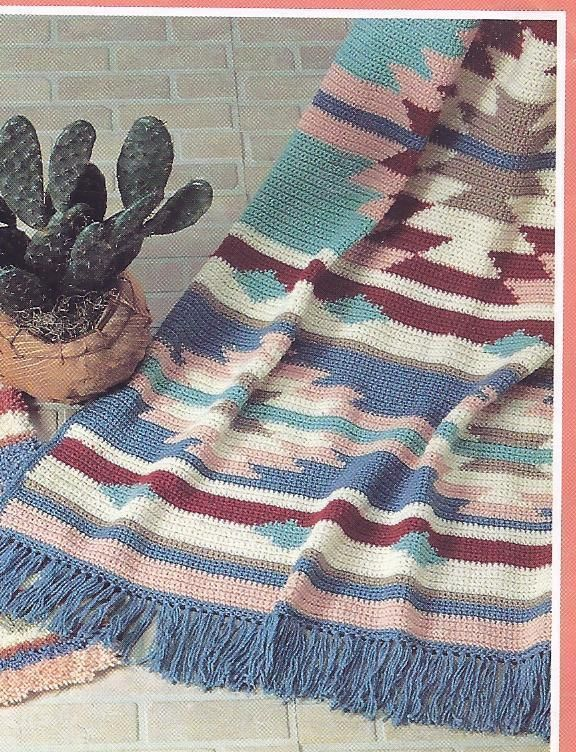 RARE~Mohave Indian Afghan Crochet Pattern~Mary Maxim | Decken ...