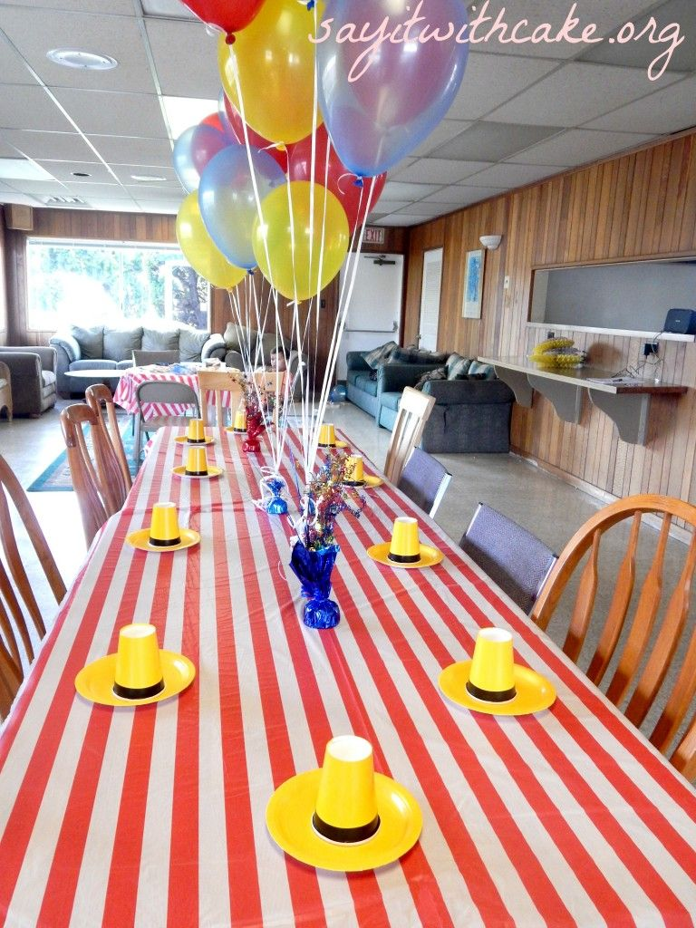 Curious George kids birthday party :: kids table