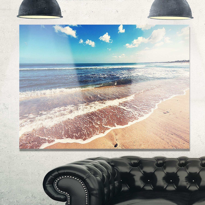 Tropical beach island in gili seashore glossy metal wall art