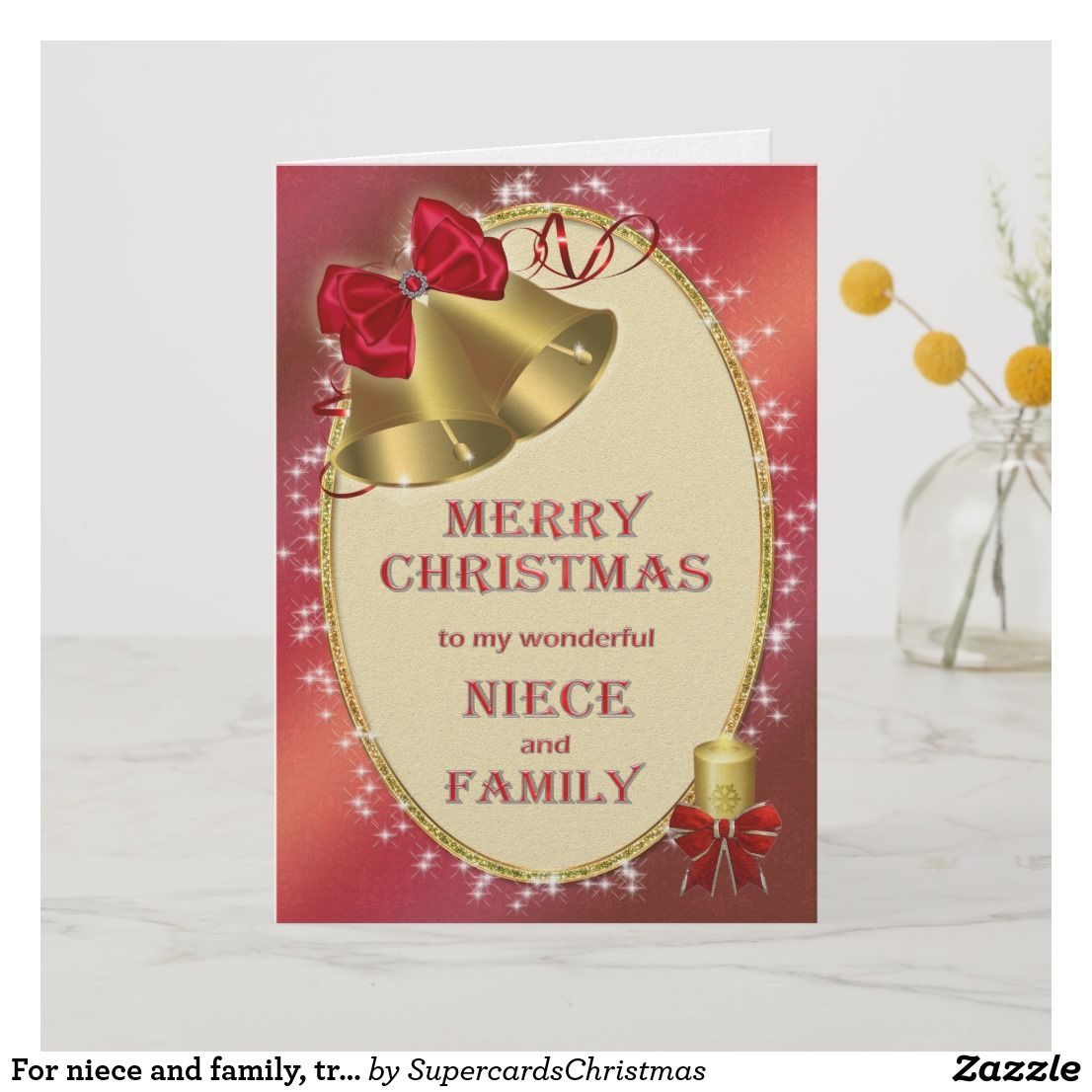 Merry Christmas Niece.For Niece And Family Traditional Christmas Card Zazzle