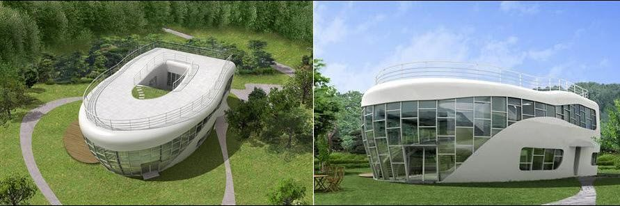 Toilet bowl shaped house - this 4,508 sqft concrete and glass structure is  a 1.6 million