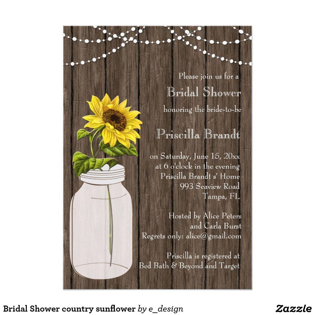 Bridal Shower country sunflower 12,7 X 17,8 Cm Einladungskarte