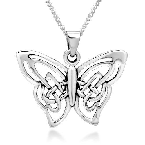 925 Real Sterling Silver Unique Celtic Knot Butterfly Charm Love Heart Pendant Necklace Jewelry for Women FgvK9T4