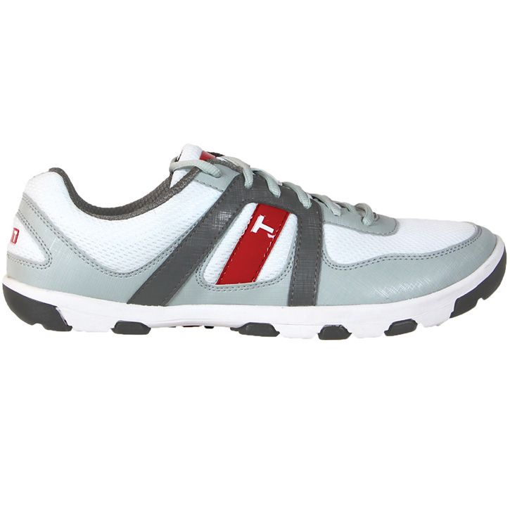 True Linkswear True Sensei Golf Shoes - White/Grey/Charcoal    The True Sensei was designed to function at a Tour level on the golf course, while also providing a super comfortable platform and breathable upper that would allow golfers to wear it off the course on trails, the road, while traveling or at the gym.    http://www.intheholegolf.com/TRU-Z1-0501/True-Linkswear-True-Sensei-Golf-Shoes---White-Grey-Charcoal.html