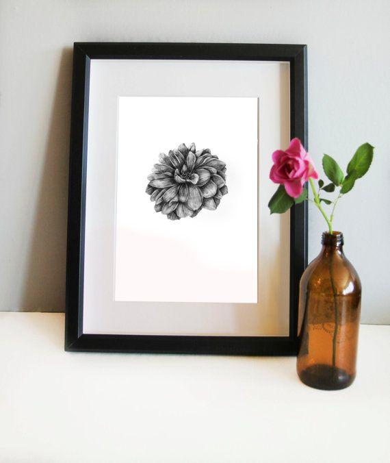 Wall art, home decor, pencil drawing, botanical illustration, botanical print, botanical art, Scandinavian art, flower art