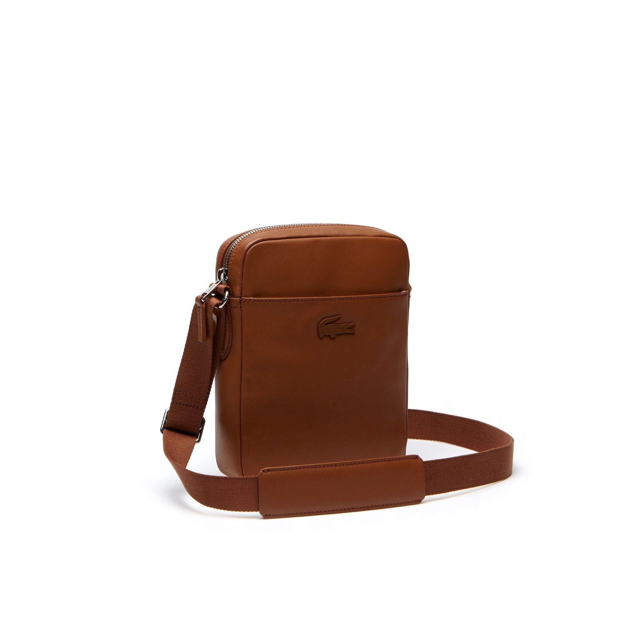 Lacoste menus l business vertical leather bag bison