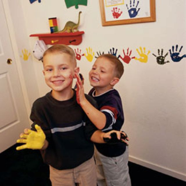 Handprint Wall Border Boys Playroom Kids Playroom Kids Bedroom Decor