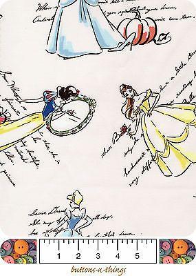 FASHIONABLE PRINCESS Disney Snow White Cinderella & More By the Yard $11.95