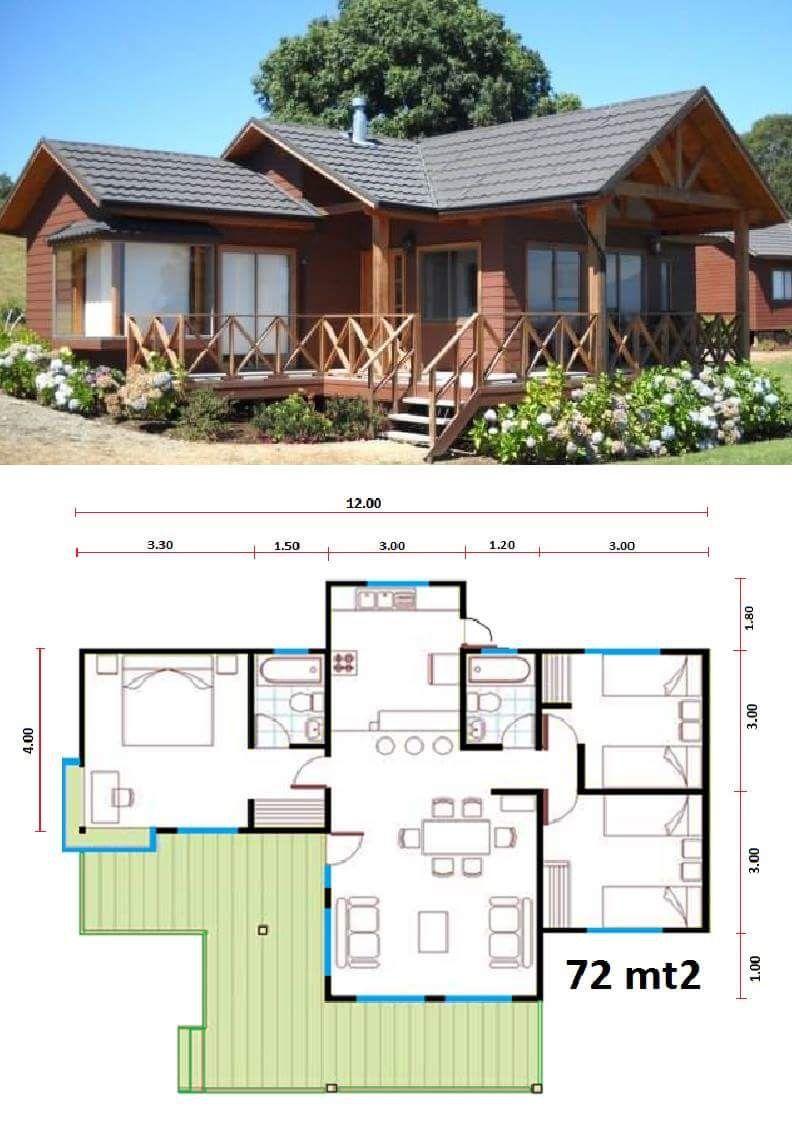 Casa com 3 quartos sendo 1 su te sala de estar jantar e for Plan petite maison 70 m2