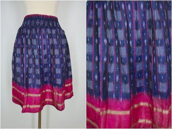 Silk Sari Skirt / Vintage Indian Sari / Blue Pink by ThisBlueBird