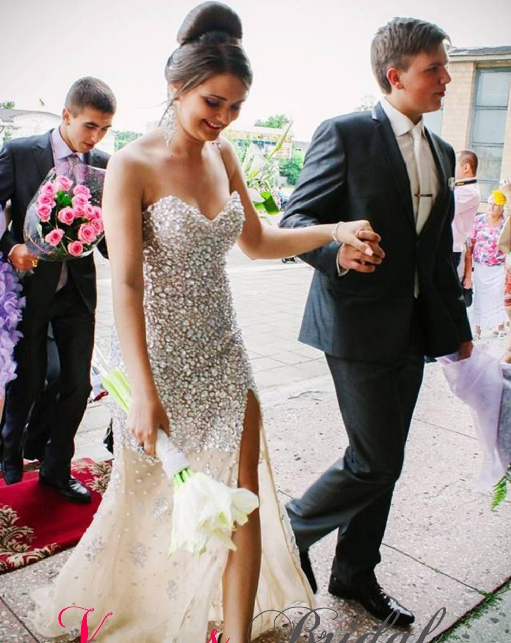 Click to buy ucuc vintage dress for prom dresses rhinestone crystal