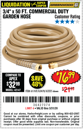 Greenwood 3 4 In X 50 Ft Commercial Duty Garden Hose For 16 99 In 2020 Harbor Freight Tools Garden Hose Hose